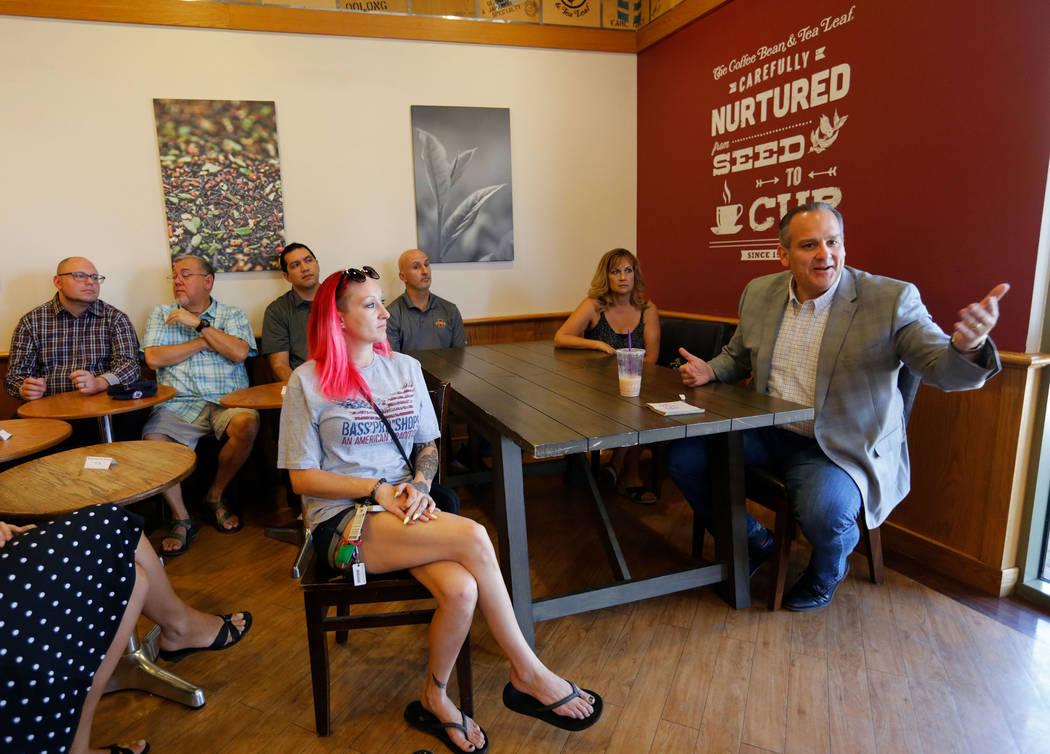 Clark County School District Superintendent Jesus F. Jara speaks during the event called Java with Jara at The Coffee Bean & Tea Leaf in Las Vegas, Saturday, Sept. 8, 2018. (Chitose Suzuki Las Veg ...