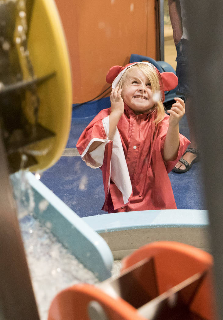 Analia Buzza Bertucci, 5, from Los Angeles, celebrates the Discovery Children's Museum's birthday at the Water World exhibit in Las Vegas, Sunday, Sept. 9, 2018. (Marcus Villagran/Las Vegas Review ...