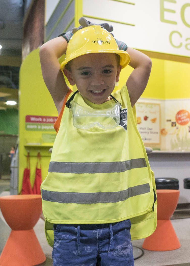 Alexander Rivera, 3, dresses up as a construction worker at the Eco City exhibit to celebrate the Discovery Children's Museum's birthday in Las Vegas, Sunday, Sept. 9, 2018. (Marcus Villagran/Las ...