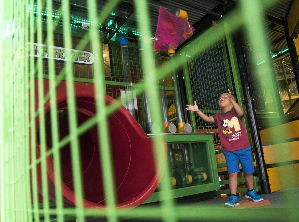 Jaden Duong, 3, plays with a wind machine inside of The Summit exhibit to celebrate the Discovery Children's Museum's birthday in Las Vegas, Sunday, Sept. 9, 2018. (Marcus Villagran/Las Vegas Revi ...