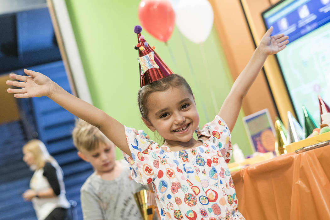 Ava Belluomini, 5, poses for a photo at the Discovery Children's Museum during the museum's birthday in Las Vegas, Sunday, Sept. 9, 2018. (Marcus Villagran/Las Vegas Review-Journal) @marcusvillagran