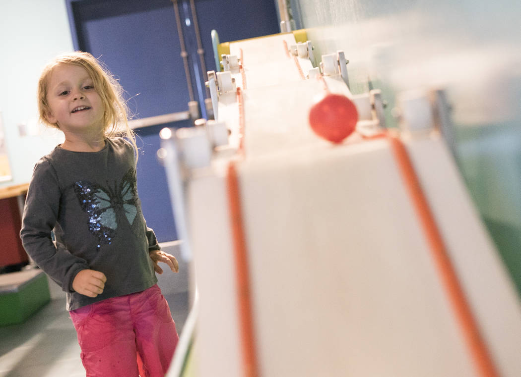 Analia Buzza Bertucci, 5, plays at the Patents Pending exhibit at the Discovery Children's Museum during the museum's birthday in Las Vegas, Sunday, Sept. 9, 2018. (Marcus Villagran/Las Vegas Revi ...
