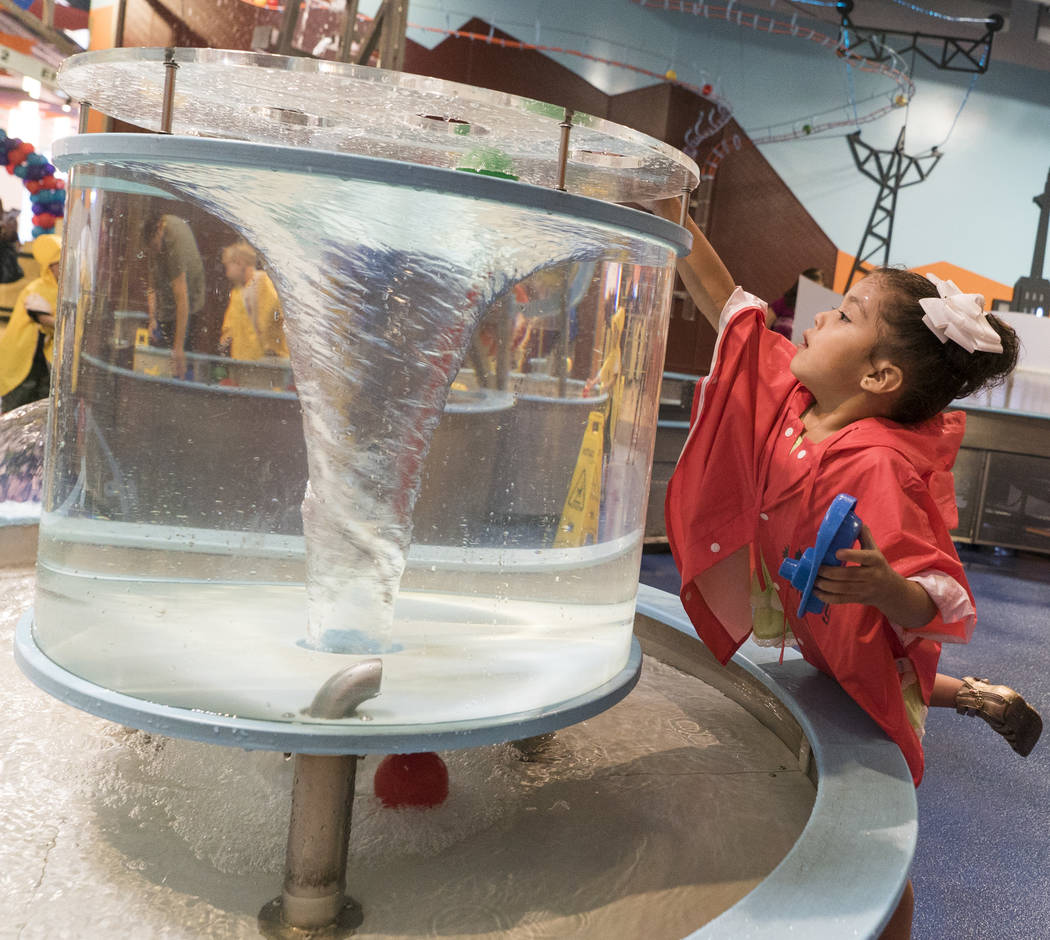 Ximena Salcedo, 4, plays at the Water World exhibit at the Discovery Children's Museum during the museum's birthday in Las Vegas, Sunday, Sept. 9, 2018. (Marcus Villagran/Las Vegas Review-Journal) ...