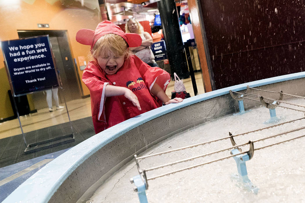 Chelsie Vaughan, 5, plays at the Water World exhibit at the Discovery Children's Museum in Las Vegas, Sunday, Sept. 9, 2018. (Marcus Villagran/Las Vegas Review-Journal) @marcusvillagran