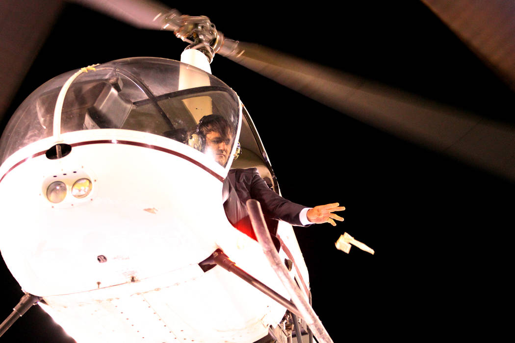 A $5,000 cash drop from a helicopter at half time during an USL soccer game between the Las Vegas Lights and LA galaxy II at Cashman Field in Las Vegas, Saturday, Sept. 8, 2018. Erik Verduzco Las ...