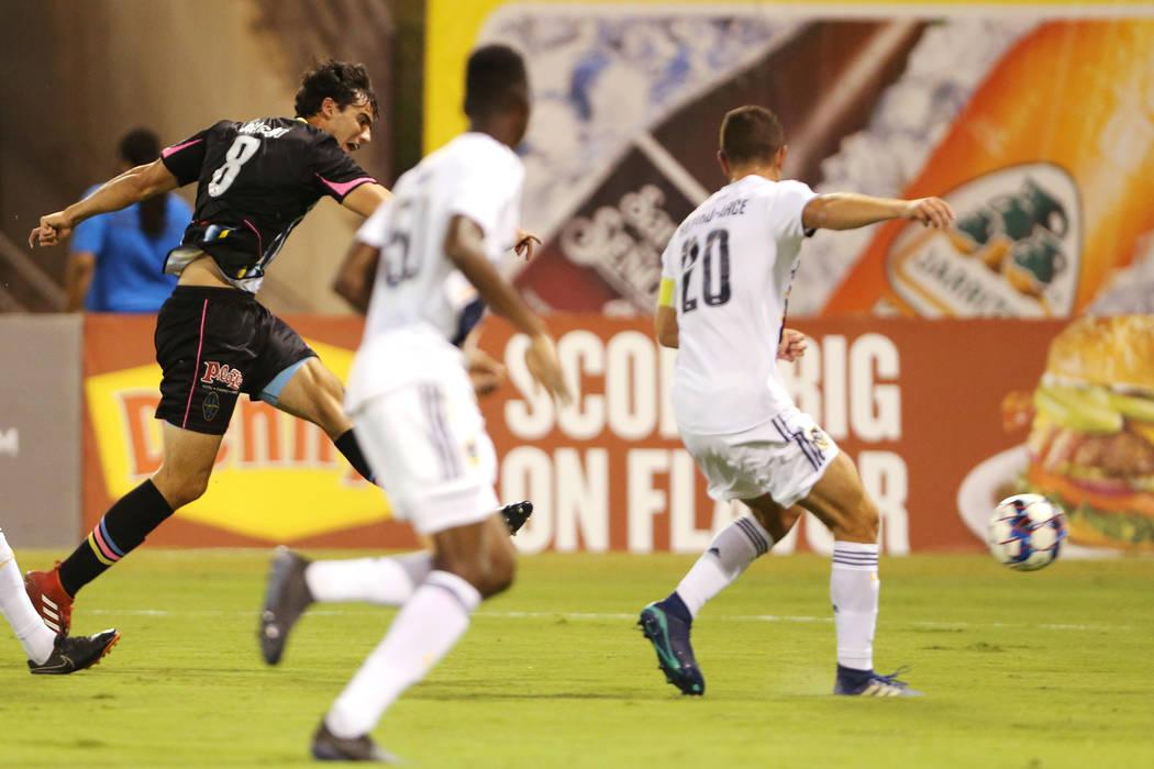 Las Vegas Lights' Omar Salgado (8) shoots for a score during the first half against LA Galaxy II in an USL game at Cashman Field in Las Vegas, Saturday, Sept. 8, 2018. Erik Verduzco Las Vegas Revi ...