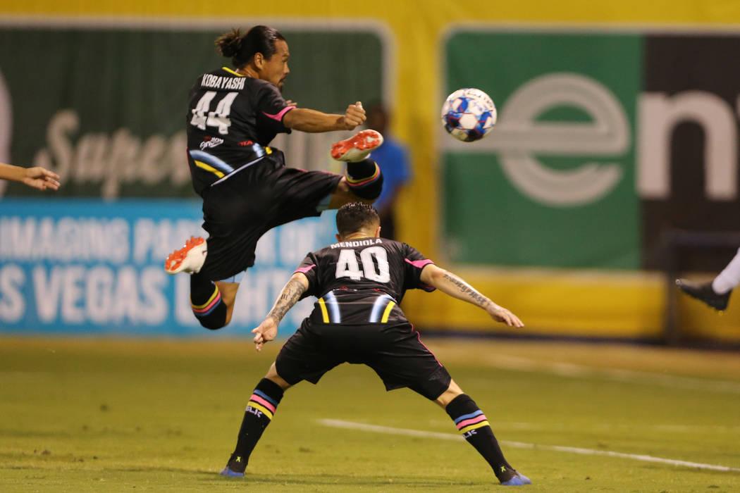 Las Vegas Lights' Daigo Kobayashi (44) leaps for a kick against LA Galaxy II during an USL game at Cashman Field in Las Vegas, Saturday, Sept. 8, 2018. Erik Verduzco Las Vegas Review-Journal @Erik ...