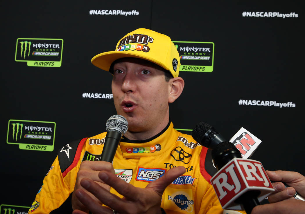 NASCAR driver Kyle Busch addresses the media during the NASCAR playoffs south point 400 media day on Thursday, Sept. 13, 2018, in Las Vegas. (Bizuayehu Tesfaye/Las Vegas Review-Journal) @bizutesfaye