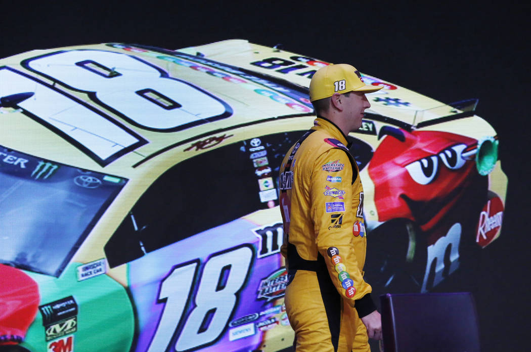 NASCAR driver Kyle Busch arrives at the NASCAR playoffs south point 400 news conference on Thursday, Sept. 13, 2018, in Las Vegas. (Bizuayehu Tesfaye/Las Vegas Review-Journal) @bizutesfaye