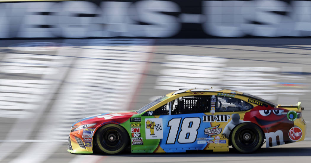 Kyle Busch drives during qualifying for a NASCAR Cup Series auto race at Las Vegas Motor Speedway Friday, Sept. 14, 2018, in Las Vegas. (AP Photo/Isaac Brekken)