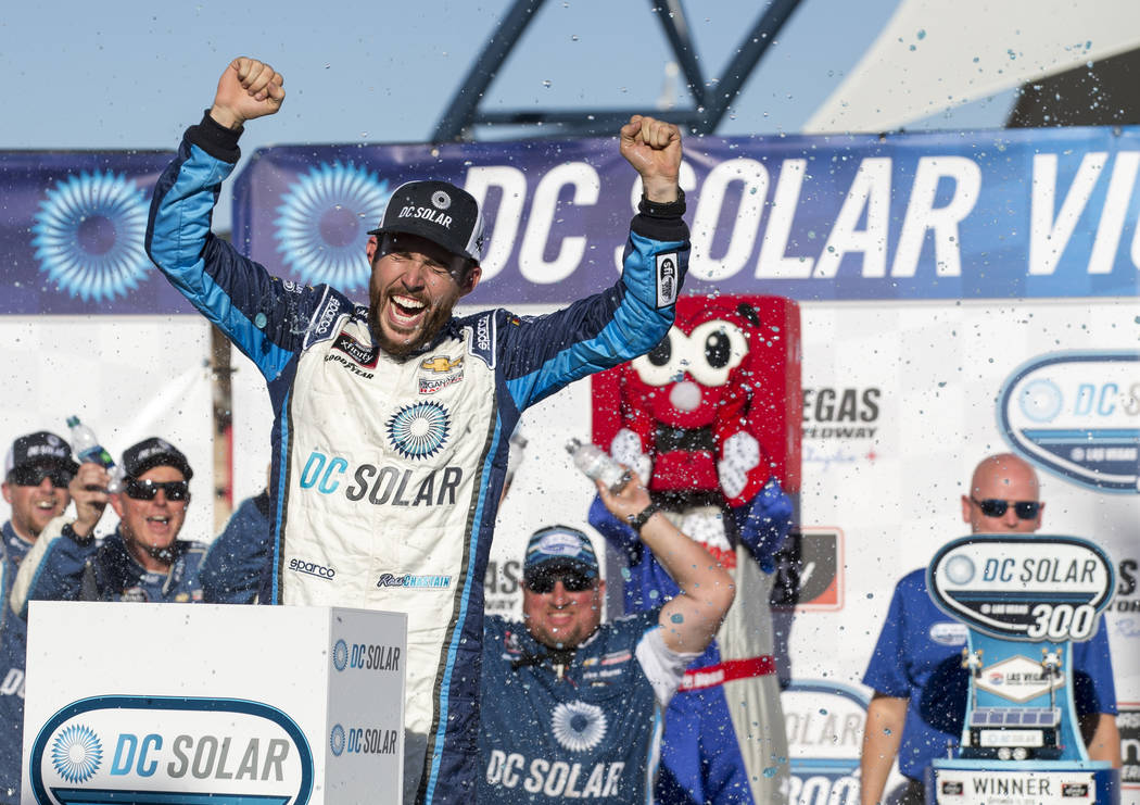 Race car driver Ross Chastain of Florida celebrates in victory lane after winning the DC Solar 200 NASCAR Xfinity Series race at the Las Vegas Motor Speedway on Saturday, Sept. 15, 2018. Richard B ...
