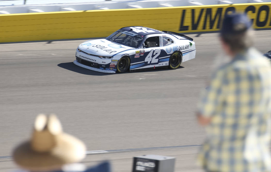 Ross Chastain (42) competes during the DC Solar 300 NASCAR Xfinity Series race at the Las Vegas Motor Speedway on Saturday, Sept. 15, 2018. Richard Brian Las Vegas Review-Journal @vegasphotograph