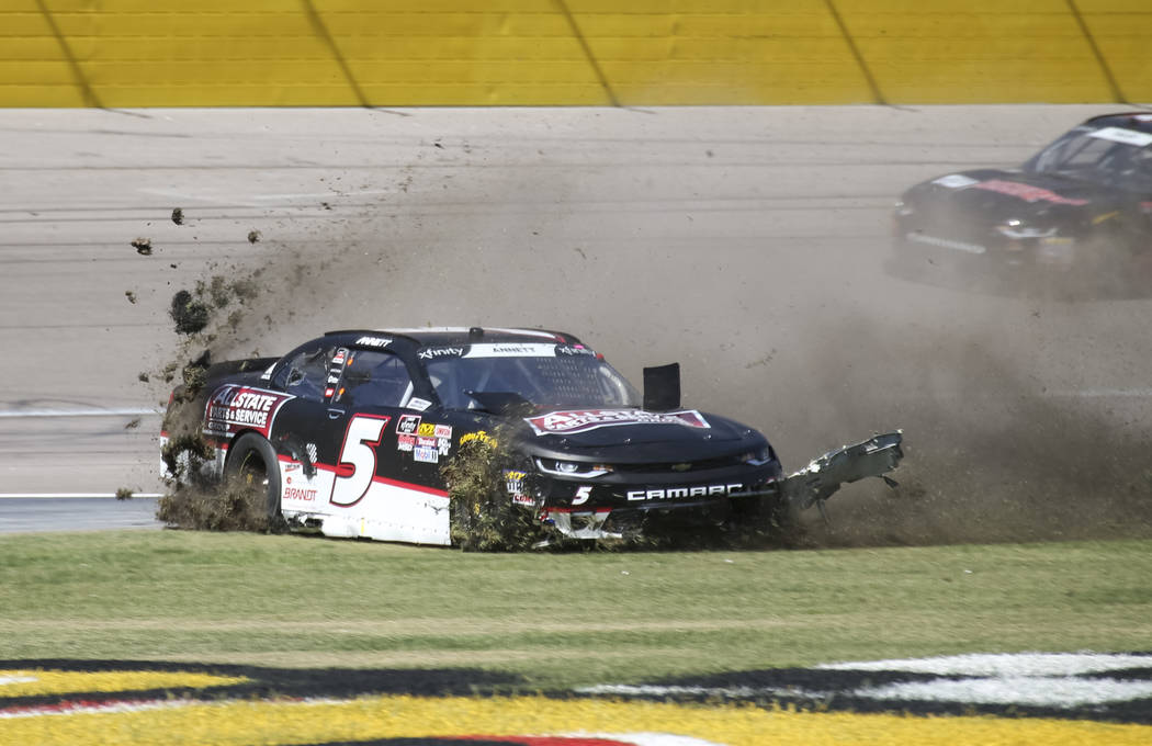 Michael Annett (5) slides onto the infield grass during the DC Solar 300 NASCAR Xfinity Series race at the Las Vegas Motor Speedway on Saturday, Sept. 15, 2018. Richard Brian Las Vegas Review-Jour ...