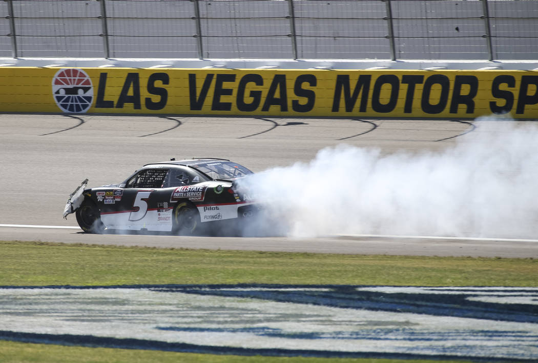 Michael Annett (5) drives off after sliding onto the infield grass during the DC Solar 300 NASCAR Xfinity Series race at the Las Vegas Motor Speedway on Saturday, Sept. 15, 2018. Richard Brian Las ...