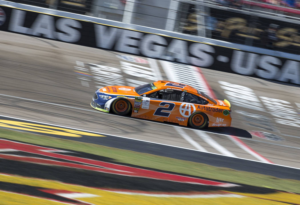 Race car driver Brad Keselowski (2) competes in the South Point 400 NASCAR Cup Series auto race at the Las Vegas Motor Speedway in Las Vegas on Sunday, Sept. 16, 2018. Richard Brian Las Vegas Revi ...