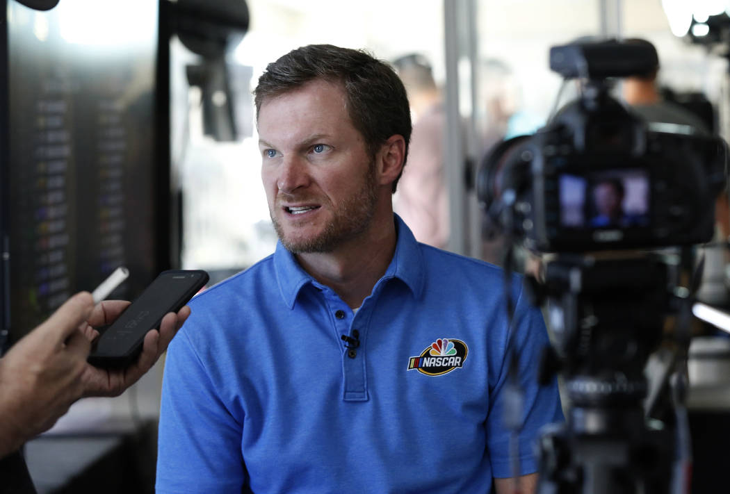 NASCAR driver Dale Earnhardt Jr. speaks during an interview with the Las Vegas Review-Journal at Las Vegas Motor Speedway on Friday, Sept. 14, 2018, in Las Vegas. (Bizuayehu Tesfaye/Las Vegas Revi ...