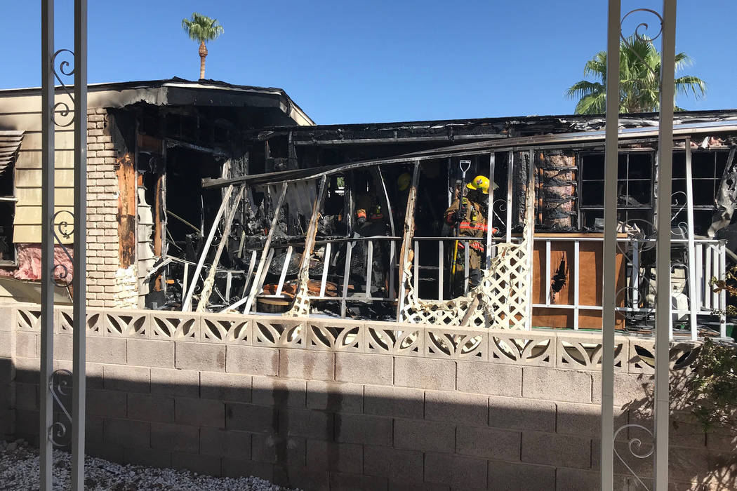A family was displaced after a large fire to a southeast Las Vegas Valley mobile home on Sunday, Sept. 9, 2018. (Clark County Fire Department)