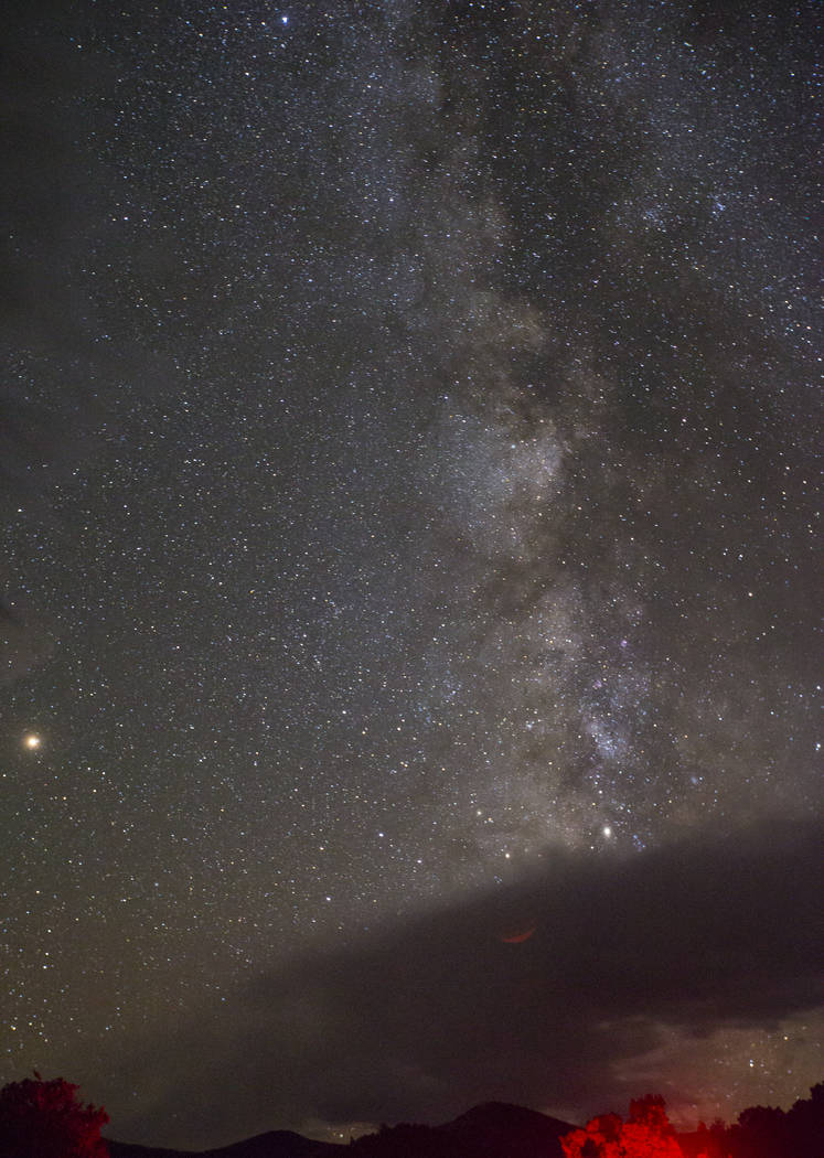 The Milky Way galaxy, along with Mars, left, shines above Great Basin National Park during the final day of the annual astronomy festival on Saturday, Sept. 8, 2018. Chase Stevens Las Vegas Review ...