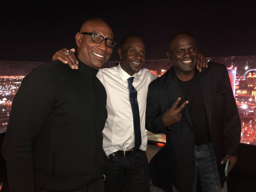 Eric Dickerson, Jerry Rice and Lawrence Taylor are shown at Apex Social Club at the Palms on Friday, Sept. 7, 2018. (Carlos Macias)