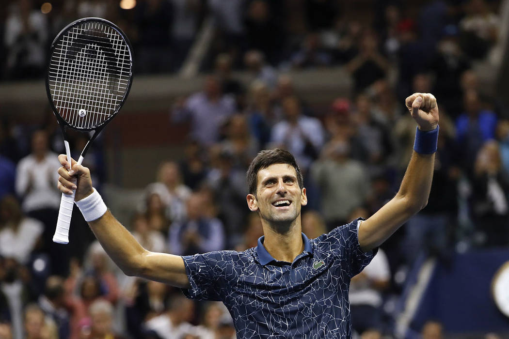 Novak Djokovic, of Serbia, celebrates after defeating Juan Martin del Potro, of Argentina, during the men's final of the U.S. Open tennis tournament, Sunday, Sept. 9, 2018, in New York. (AP Photo/ ...