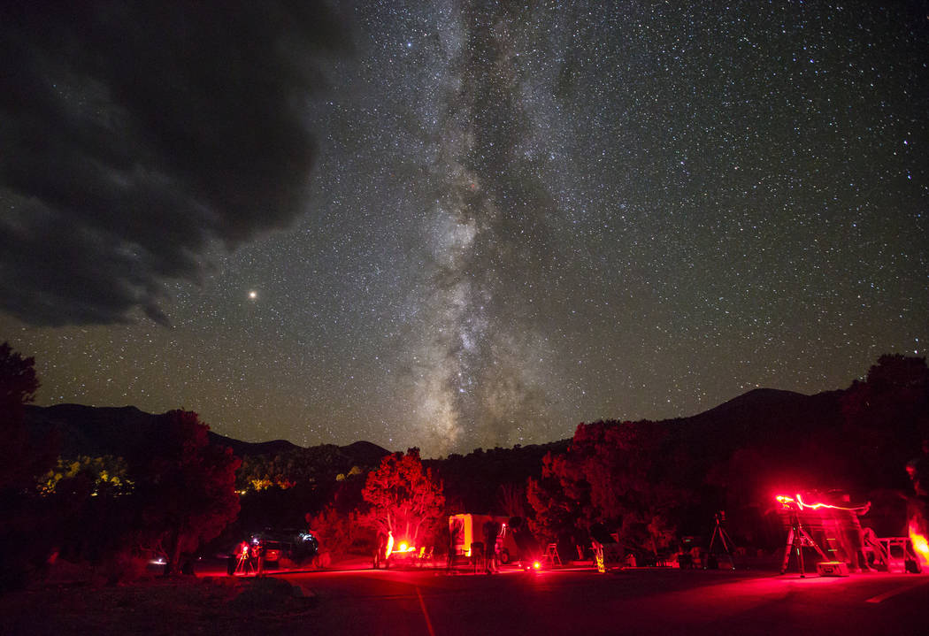 The Milky Way galaxy, along with Mars, center left, shines above Great Basin National Park during the final day of the annual astronomy festival on Saturday, Sept. 8, 2018. Chase Stevens Las Vegas ...