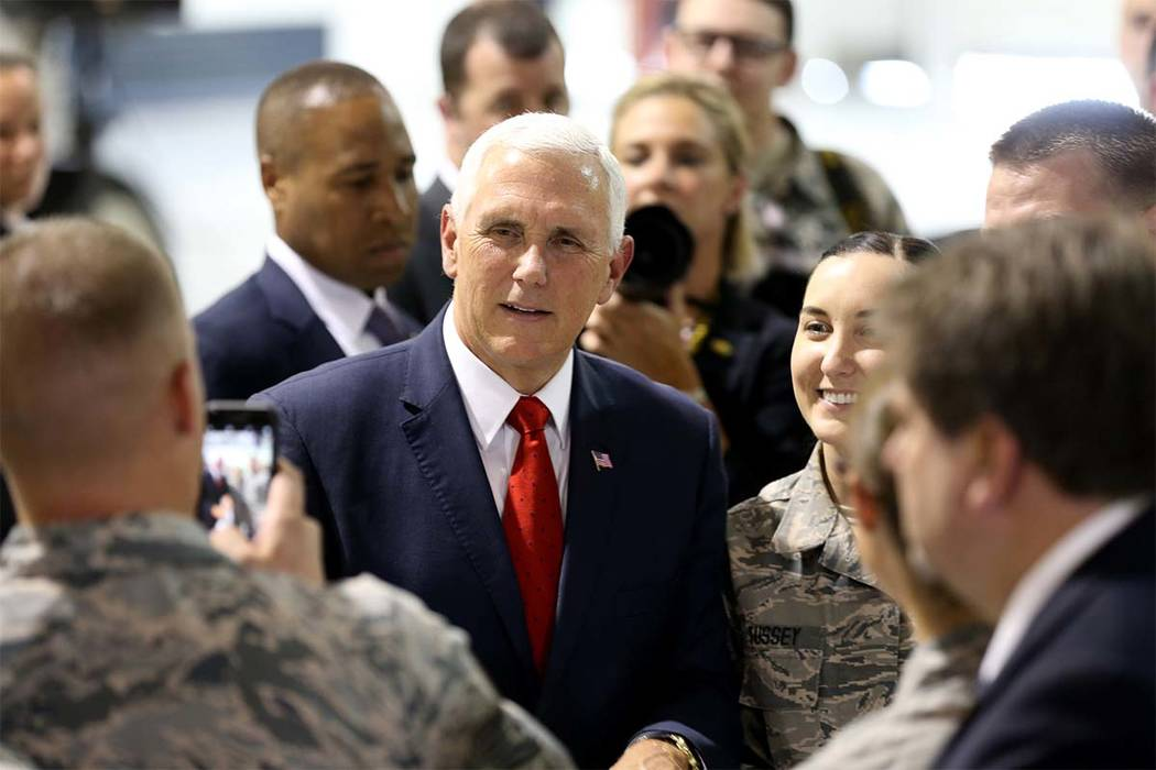 Vice President Mike Pence meets with airmen in the Thunderbirds hanger at Nellis Air Force Base in Las Vegas Friday, Sept. 7, 2018. (K.M. Cannon Las Vegas Review-Journal) @KMCannonPhoto