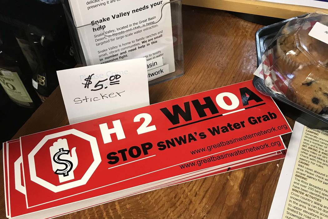 A convenience store in the tiny White Pine County town of Baker sells anti-pipeline bumper stickers on Sept. 1. (Henry Brean/Las Vegas Review-Journal)