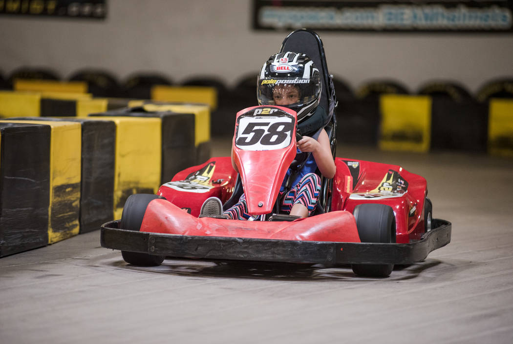 Zoe Kenner, 7, on the racetrack for the first time at Pole Position Raceway on Saturday, July 22, 2017, in Las Vegas. Morgan Lieberman Las Vegas Review-Journal