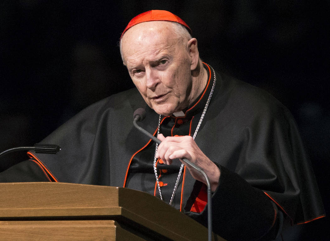 Cardinal Theodore McCarrick speaks during a memorial service in South Bend, Indiana, March 4, 2015. A 2006 letter from Cardinal Leonardo Sandri, a top Vatican official, confirms that the Holy See ...