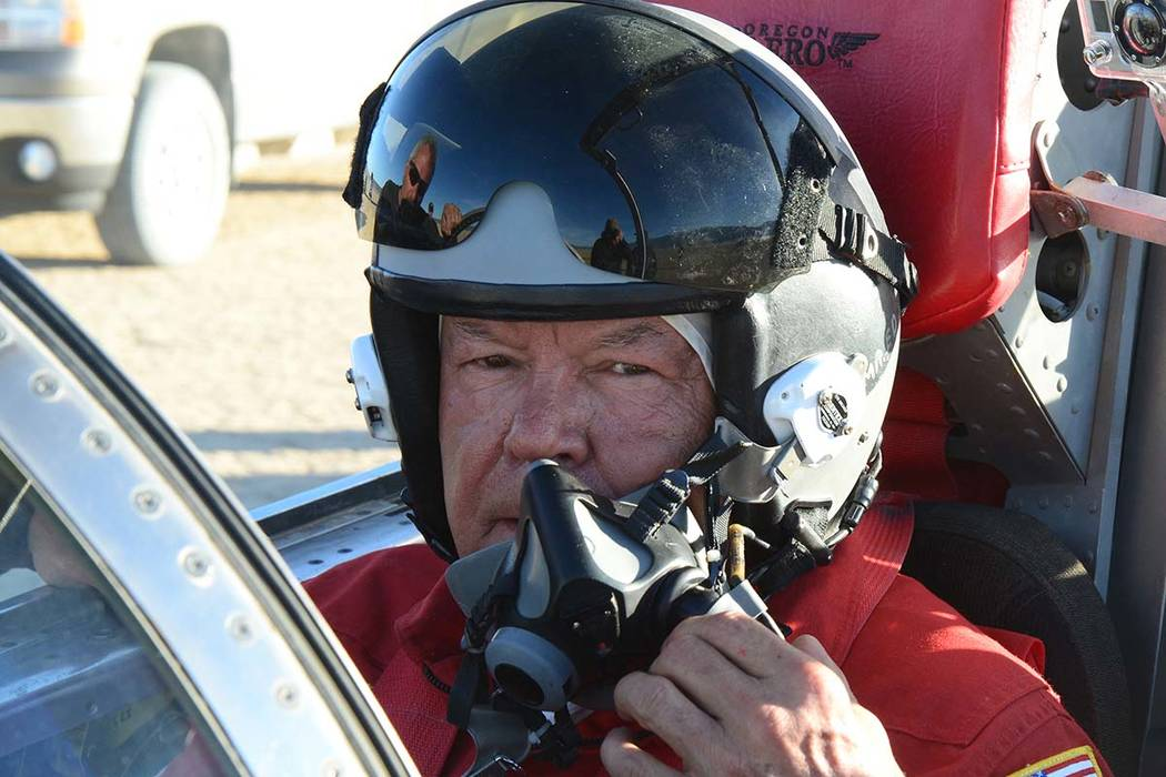 North American Eagle owner and lead driver Ed Shadle sits in the cockpit of the rocket car he hoped to pilot to a new land speed record. Shadle died on Sept. 7, but his team plans to keep chasing ...