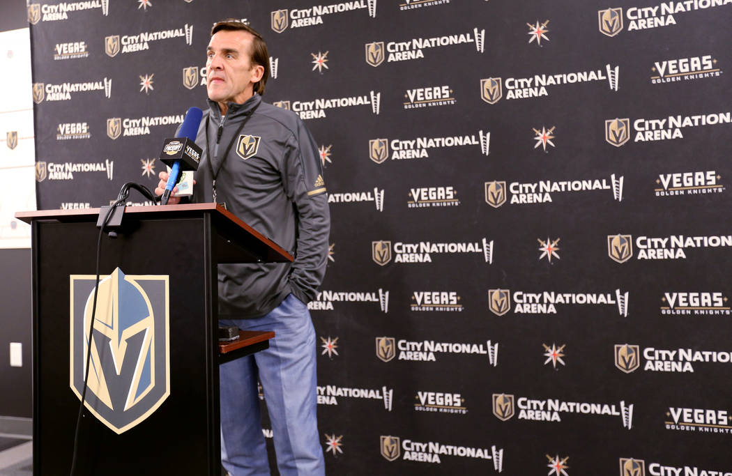 Vegas GoldenKnightsgeneral manager George McPhee during a news conference at City National Arena Monday, Sept. 10, 2018. McPhee talked about newly acquired forward Max Pacioretty forme ...