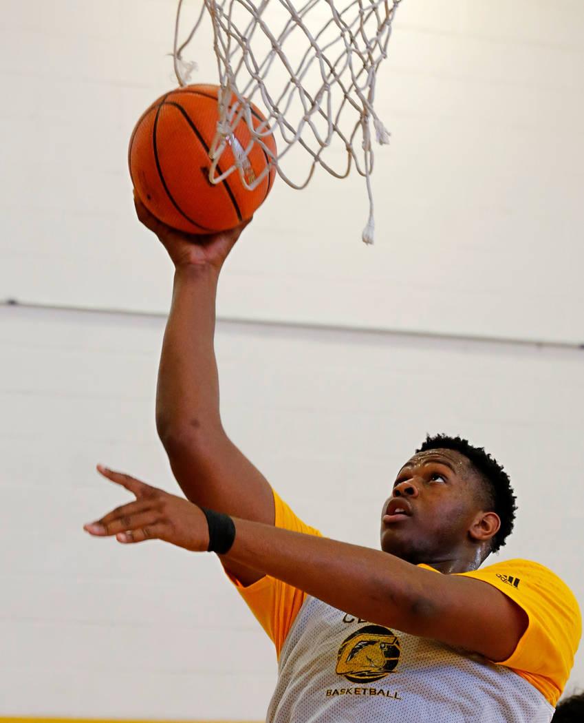 Clark forward-center Antwon Jackson shoots during a practice at Clark High School in Las Vegas, Tuesday, Sept. 11, 2018. Chitose Suzuki Las Vegas Review-Journal @chitosephoto