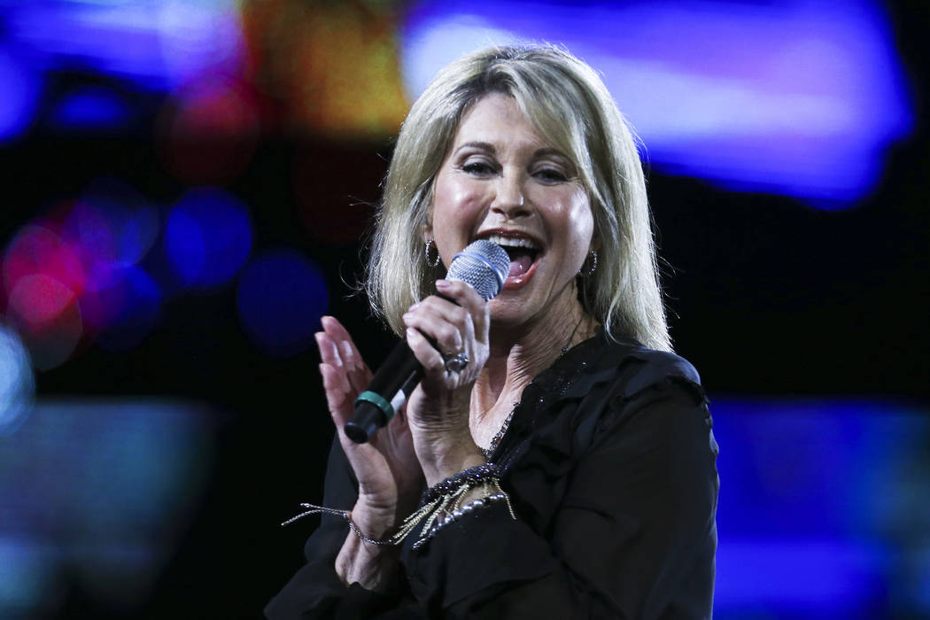 Olivia Newton-John performs during the Viña del Mar International Song Festival at the Quinta Vergara in Viña del Mar, Chile, on Feb. 23, 2017. Newton-John said she has been diagnosed with cance ...