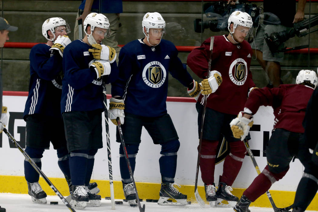 Vegas Golden Knights players during practice at City National Arena Monday, Sept. 10, 2018. K.M. Cannon Las Vegas Review-Journal @KMCannonPhoto