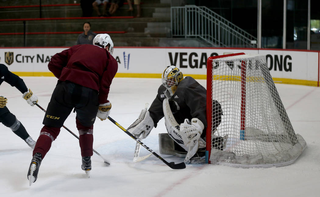 Vegas Golden Knights forward Reid Duke (37) and goaltender Jiri Patera (32) during practice at City National Arena Monday, Sept. 10, 2018. K.M. Cannon Las Vegas Review-Journal @KMCannonPhoto