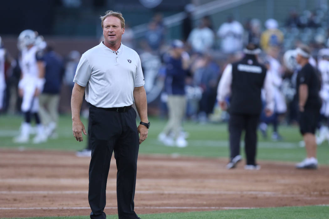 Oakland Raiders head coach Jon Gruden on the field prior to the start of the team's NFL game against the Los Angeles Rams in Oakland-Alameda County Coliseum in Oakland, Calif., Monday, Sept. 10, 2 ...