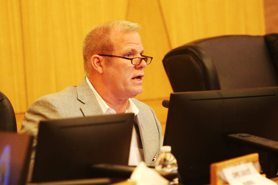 Clark County School Board Trustee Kevin Child speaks at a CCSD board meeting at the Clark County Government Center in Las Vegas, Thursday, Aug. 9, 2018. Rachel Aston Las Vegas Review-Journal @rook ...