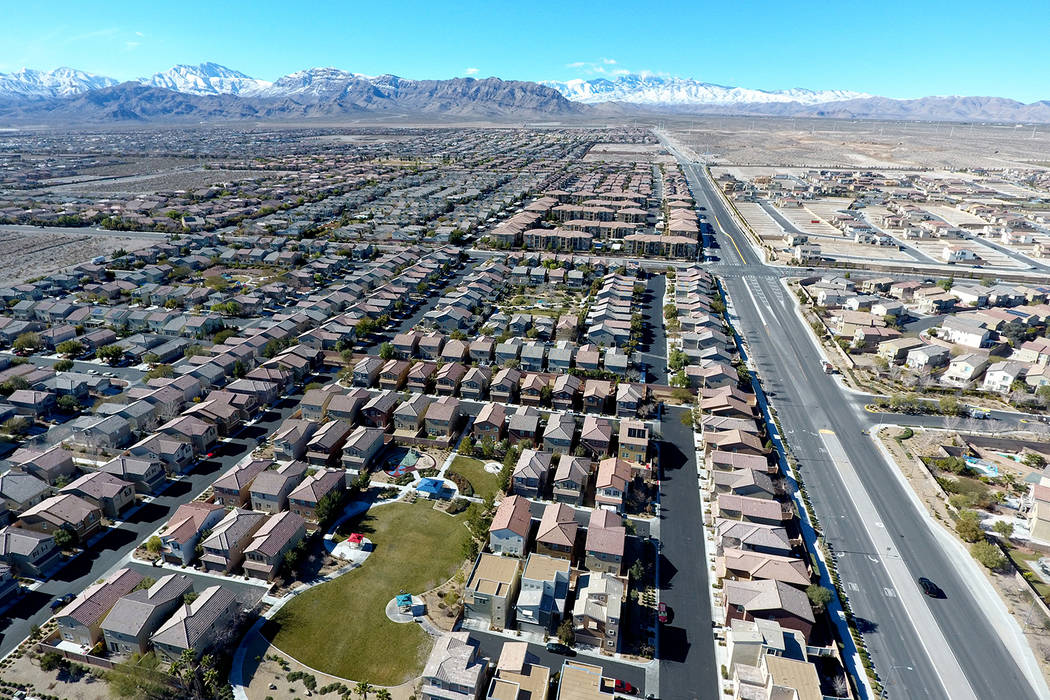 Aerial view of the Brookhaven housing development in northwest Las Vegas near Grand Teton Drive and Tee Pee Lane on Wednesday, January 26, 2017. (Michael Quine/Las Vegas Review-Journal) @Vegas88s