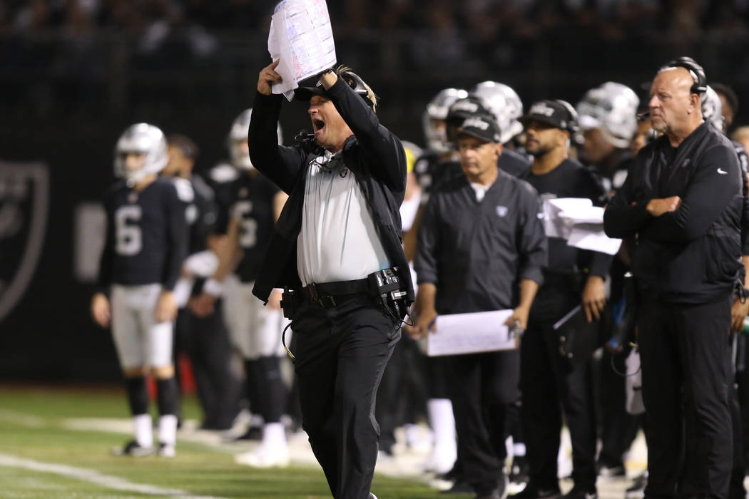 Oakland Raiders head coach Jon Gruden calls for a time out during the first half of their NFL game against the Los Angeles Rams in Oakland, Calif., Monday, Sept. 10, 2018. Heidi Fang Las Vegas Rev ...