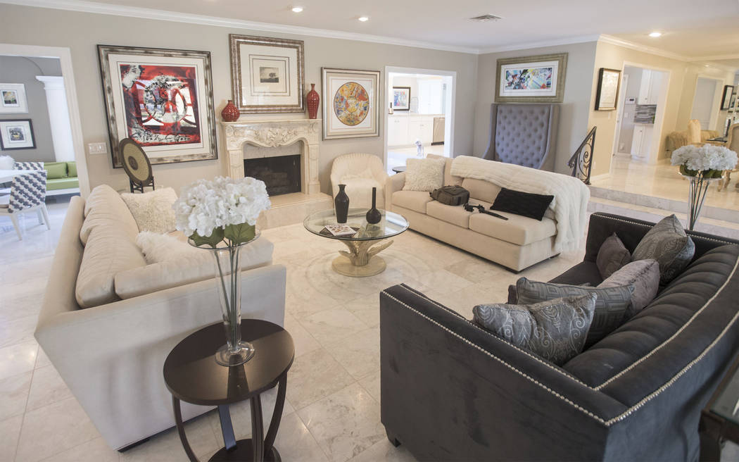 The entry way/living room in the recently renovated home of the late casino heir Ted Binion on Monday, Sept. 10, 2018, in Las Vegas. Benjamin Hager Las Vegas Review-Journal @benjaminhphoto