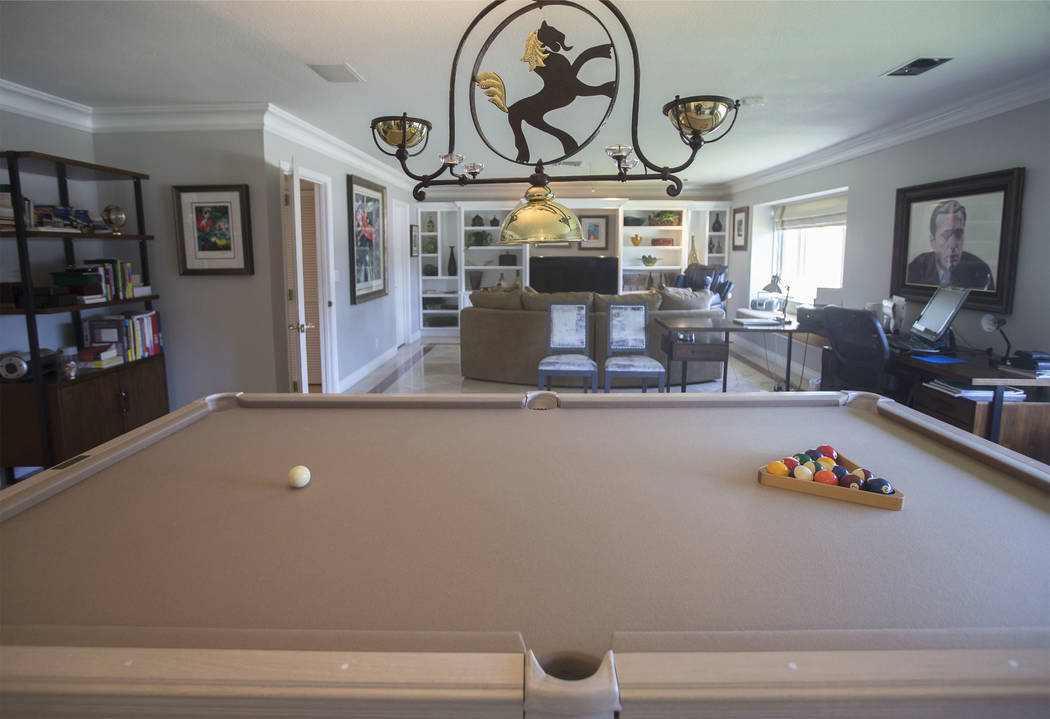 A pool table owned by casino heir Ted Binion at his former home, now owned by Jane Popple, on Monday, Sept. 10, 2018, in Las Vegas. Binion died in the home on Sept. 17, 1998. Benjamin Hager Las Ve ...