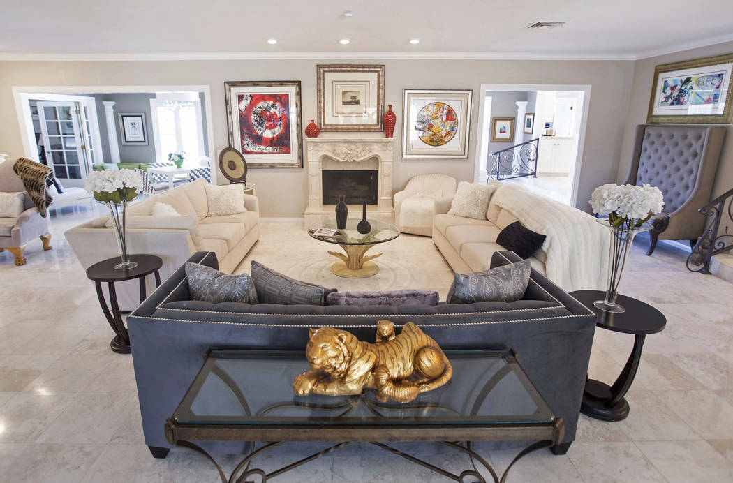 The entry way/living room in the recently renovated home of the late casino heir Ted Binion on Monday, Sept. 10, 2018, in Las Vegas. Binion died in the home on Sept. 17, 2018. Benjamin Hager Las V ...
