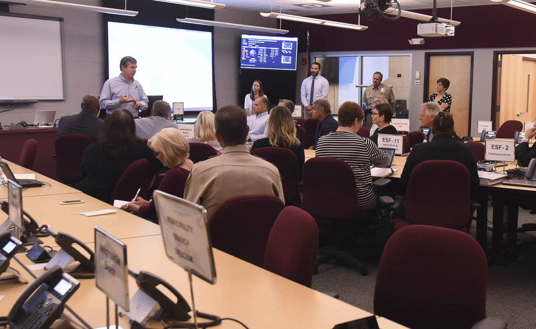Governor Roy Cooper talks to emergency personnel local officials and members of the media about the ongoing Hurricane Florence preparation efforts in the Emergency Operations Center at the New Han ...