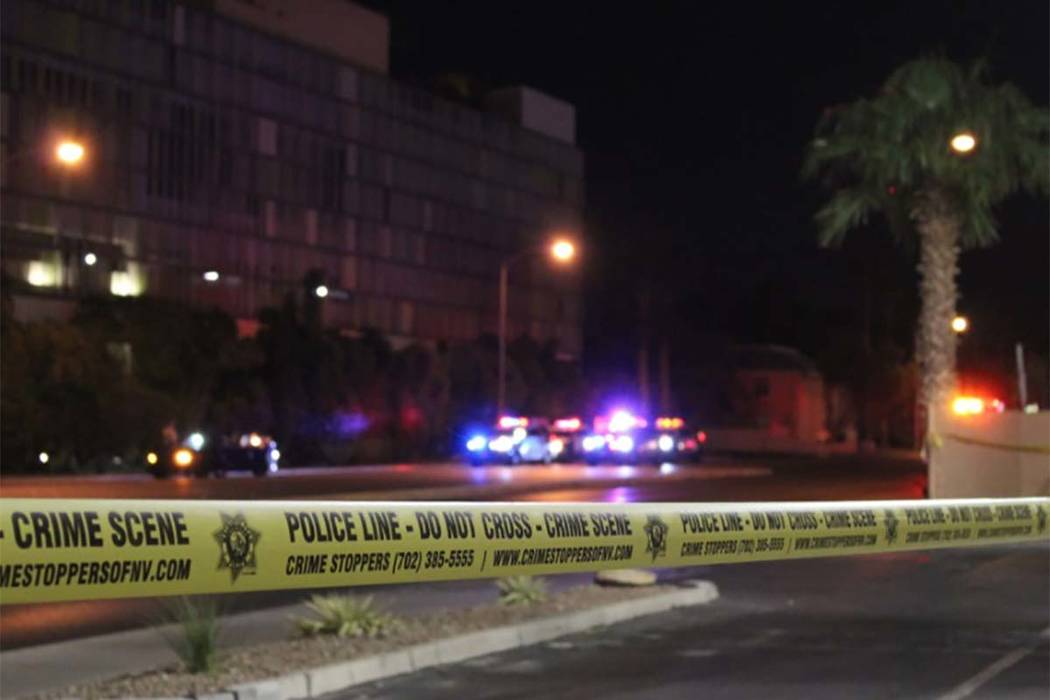 Las Vegas homicide detectives are investigating after a person was found dead inside a vehicle on Arville Street, near West Flamingo Road. (Max Michor/Las Vegas Review-Journal)