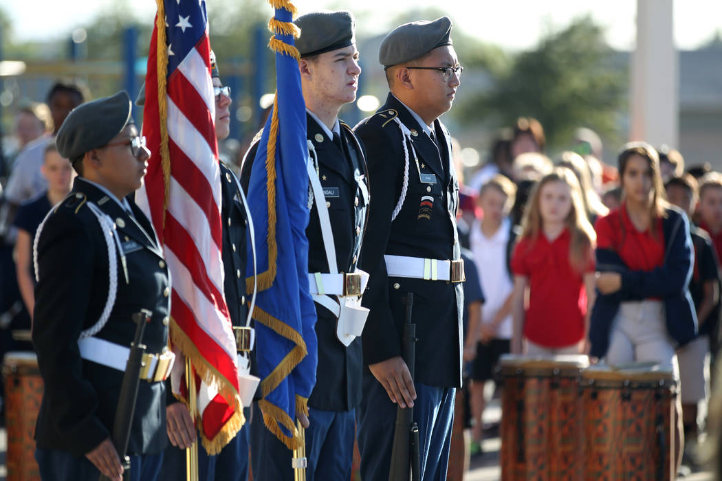 Cheyenne High School Army ROTC Color Guard during a 9/11 observance at Joseph M. Neal STEAM Academy in Las Vegas Tuesday, Sept. 11, 2018. Principal Denise Murray and her husband, a former Port Aut ...
