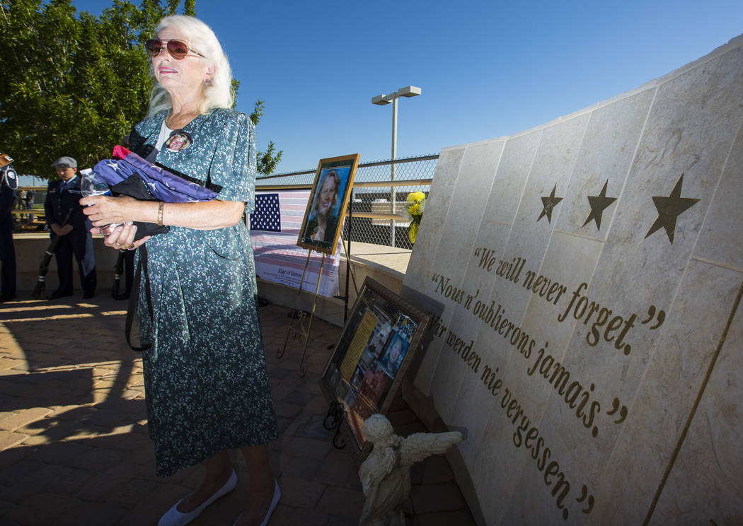 Retired teacher Gail Fahy talks about her close friend and fellow teacher Barbara Edwards, who died in the 9/11 terrorist attacks, at the memorial in Edwards' memory at Palo Verde High School in L ...