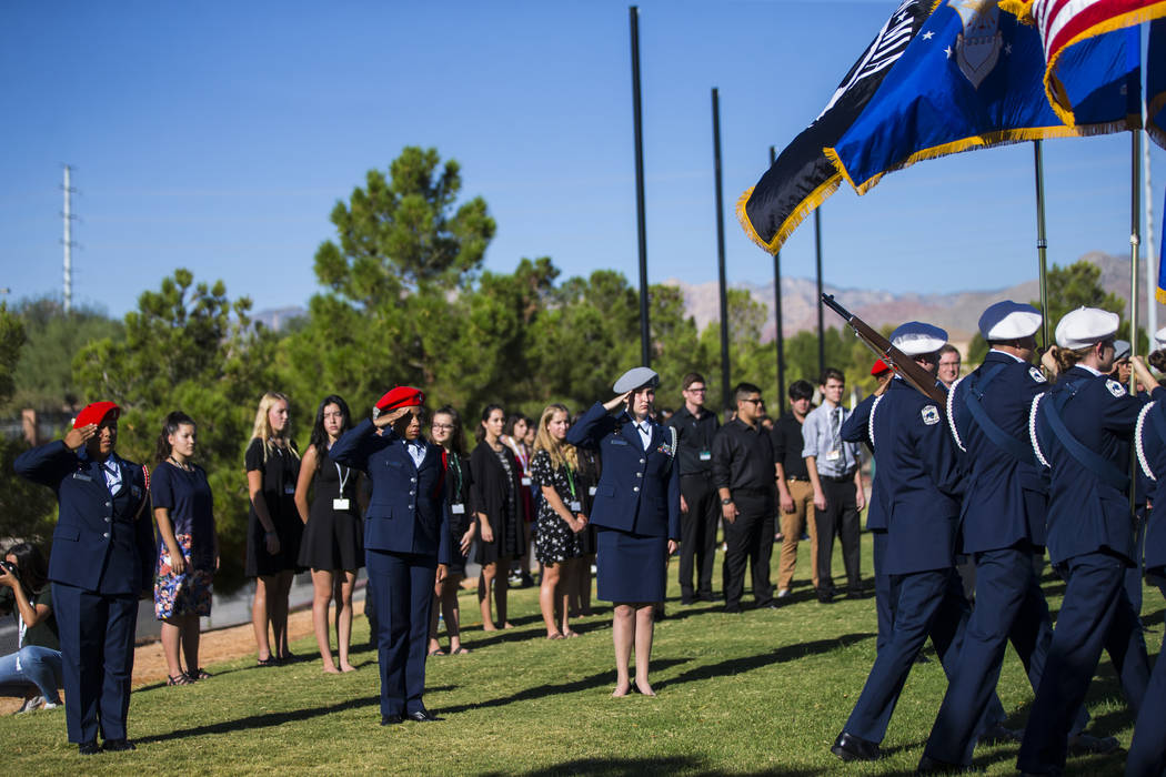 Members of the Palo Verde High School Air Force JROTC during the annual rededication ceremony remembering victims of the 9/11 terrorist attacks, which claimed the life of teacher Barbara Edwards, ...