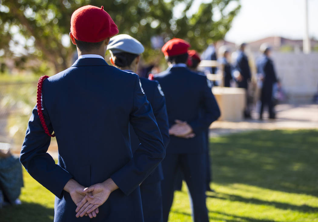 Members of the Palo Verde High School Air Force JROTC gather during the annual rededication ceremony remembering victims of the 9/11 terrorist attacks, which claimed the life of teacher Barbara Ed ...