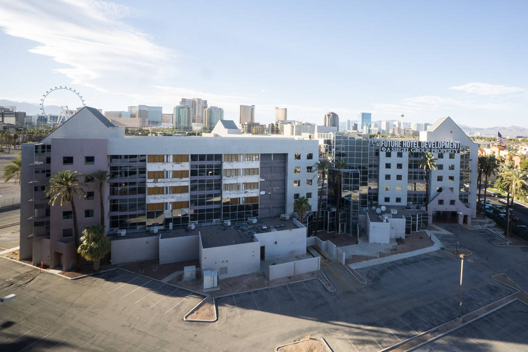 The closed Atrium Suites Hotel property photographed in Las Vegas, Thursday, Sept. 13, 2018. The hotel closed for renovations about a decade ago, but work stopped when the economy crashed. (Marcus ...