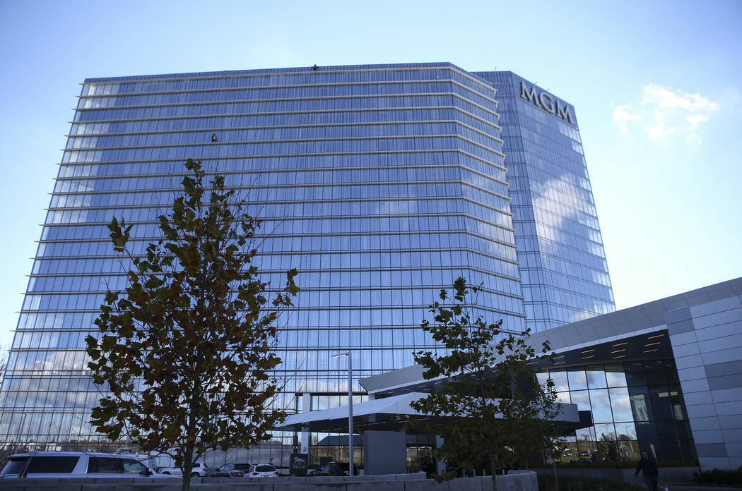 The 308-room, 24-story hotel tower rises above at the MGM National Harbor in Oxon Hill, Md. on Monday, Dec. 5, 2016. (Chase Stevens/Las Vegas Review-Journal) @csstevensphoto